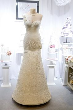 Wedding Shower Dress Cake | Stunning 6 Foot Wedding Dress Cake by the Fairytale Cake Company! WOW!