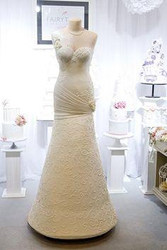 Wedding Shower Dress Cake | Stunning 6 Foot Wedding Dress Cake by the Fairytale Cake Company! WOW!