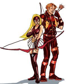 Arsenal and Arrowette Arrow Black Canary, Roy Harper, Team Arrow, Dc Comics Characters, Comics Universe, Young Justice, Green Arrow, Dc Heroes, Teen Titans