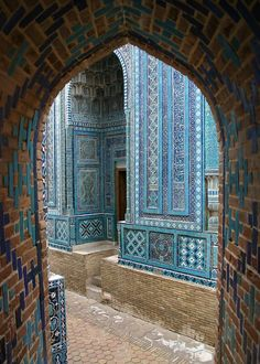 Colours of Shahi Zinda necropolis complex in Samarkand, Uzbekistan