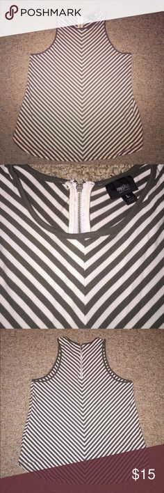 Hunter green and white striped tank Mossimo tank top with zipper back. Size Large. Mossimo Supply Co. Tops Tank Tops