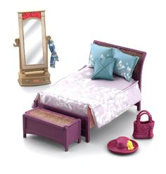 New Parents Bedroom with updated colors and fabric for the bed and blanket chest along with a new bedspread and new pillows for the bed. Also included are play pieces for dress up play including a purse, hat, scarf and full-length mirror for your dolls.