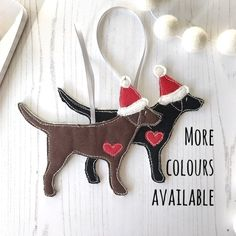 Gifts for pet lovers by Ren Ellery, Textile Artist por RenandThread Fabric Christmas Decorations, Fabric Ornaments, Christmas Crafts For Gifts, Clay Ornaments, Felt Christmas Ornaments, Crafts For Kids, Christmas Ideas, Holiday Decor, Hanging Fabric