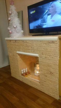 Декоративный камин своими руками. Новогодний декор. #камин #новогодняяёлка #новогоднийдекор #Xmas #fireplace