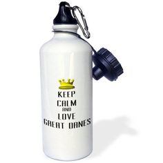 3dRose Gold Crown Keep Calm And Love Great Danes, Sports Water Bottle, 21oz, White