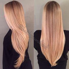 Blonde ombre balayage long hair  @hairbymandizink