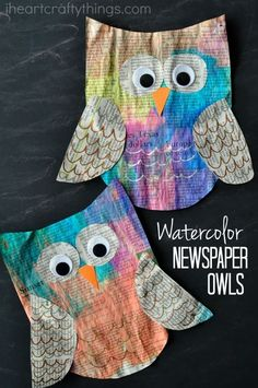 macrame colorful newspaper owl craft for kids is super bright and beautiful and mak.This colorful newspaper owl craft for kids is super bright and beautiful and makes a great kids craft for Earth Day since Kindergarten Art, Preschool Crafts, Kids Crafts, Arts And Crafts, Craft Kids, Fall Kid Crafts, Preschool Winter, Winter Kids, Summer Kids