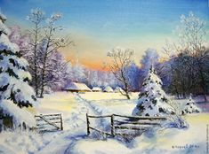 Купить Картина маслом_Зима красавица_ авторская работа - картина в подарок, картина, картина для интерьера