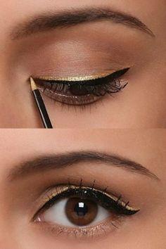 Mascara+black eyeliner+golden eyeliner = this beautiful look; I have the perfect gold eyeliner from Mary Kay! Gold Eyeliner, Apply Eyeliner, Bottom Eyeliner, Easy Eyeliner, Smokey Eyeliner, Green Eyeliner, Beauty Make-up, Beauty Hacks, Makeup Eyes