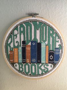 """""""Read More Books"""" counted cross-stitch pattern by Modern Stitch. - Read More Books - Cross Stitch Pattern (Printable PDF) Cross Stitch Letters, Cross Stitch Bookmarks, Cross Stitch Books, Cross Stitch Borders, Modern Cross Stitch Patterns, Counted Cross Stitch Patterns, Cross Stitch Charts, Cross Stitch Designs, Cross Stitching"""
