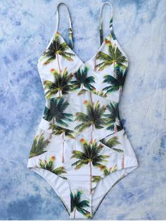 Coconut Palm Tree Print Swimsuit - WHITE M Mobile