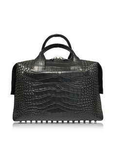 Alexander+Wang+%2F+%83A%83%8C%83L%83T%83%93%83%5F%81%5B%83%8F%83%93+Rogue+Black+Matte+Embossed+Croco+Leather+Large+Satchel