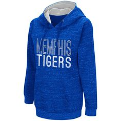 Women's Campus Heritage Memphis Tigers Throw-Back Pullover Hoodie, Size: Medium, Blue (Navy)