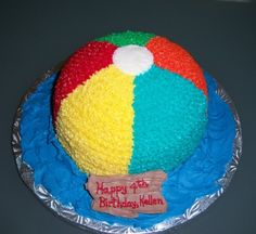 Beach Ball Cake A little boy's mom ordered this smash cake to go with beach-themed cupcakes she made. Scratch funfetti cake with BC...