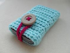 Custom crochet mobile/cell phone case with button by YellowSherbet, £6.50