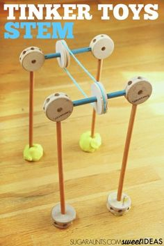 Build a Tinker Toys Pulley system and explore STEM concepts in learning with kids.