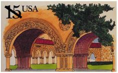 In 1990, Stanford University celebrated its centennial and was commemorated on a stamped card in the Historical Preservation series.