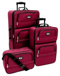 Luggage Sets Collections | Leisure Lafayette 3 Piece Luggage Set Berry One Size *** You can get additional details at the image link. Note:It is Affiliate Link to Amazon.