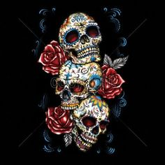 Day of the Dead Three Sugar Skull With Roses WOMANS LONG SLEEVE T Shirt 17033