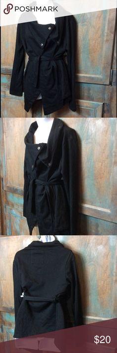 Me Jane black snap jacket SZ xsmall Me Jane black snap jersey jacket. Asymmetrical cowl like collar. Belt tie waist. Size xsmall. EUC. Me Jane Jackets & Coats