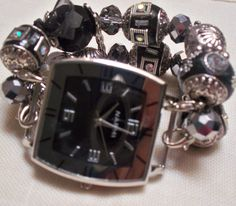 Black and Silver Chunky Interchangeable Beaded Band by BeadsnTime, $30.00