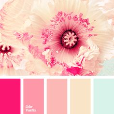 Pastel shades of pink shades and light blue are complemented with bright cold pink. This palette is perfect for bedroom decoration, while replaceable eleme.
