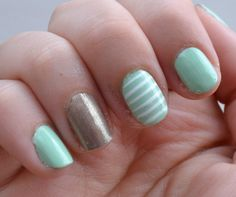 Mint green, gold and stripe nails. Easy and cute spring nail combination! #busygirlnails via @Beauty by Arielle