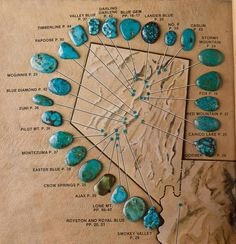 Turquoise location/type chart for the state of Nevada. Crystal Healing Stones, Crystal Magic, Stones And Crystals, Minerals And Gemstones, Crystals Minerals, Rocks And Minerals, Turquoise Stone, Turquoise Jewelry, Gem Hunt