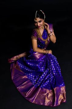 17 Saree Colors You Need To Consider For Weddings Saree Designs violet color bridal saree - Violet Things Pattu Sarees Wedding, Wedding Saree Blouse Designs, Half Saree Designs, Silk Saree Blouse Designs, Bridal Lehenga, Designer Sarees Wedding, Bridal Sarees South Indian, Wedding Silk Saree, Kerala Wedding Saree