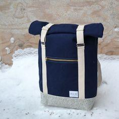 "Roll Top Backpack "" AHTI"", dark blue with raindrop bottom Top Backpacks, Rain Drops, Dark Blue, Bags, Fashion, Handbags, Moda, Deep Blue, Fashion Styles"