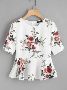Best 12 Shop Zipper Back Ruffle Hem Peplum Top online. SheIn offers Zipper Back Ruffle Hem Peplum Top & more to fit your fashionable needs. Peplum Blouse, Peplum Tops, Sleeveless Tops, Floral Blouse, Cute Tops, Short Sleeve Blouse, Blouse Designs, Blouses For Women, Women's Blouses