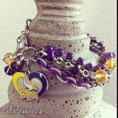 Minnesota Vikings Football Multichain, rhinestones and crystals bracelet by alliefayedesigns on Etsy