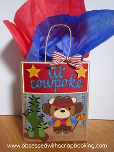 Obsessed with Scrapbooking: How to Make A Cowboy Birthday Gift Bag!