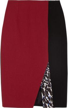 Peter Pilotto Kyra color-block wool-crepe skirt