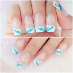 Blue and white gel nails!