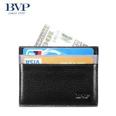 BVP High-end Men Genuine Leather Slim Front Pocket Money Clip Handmade ID Wallet #BVP