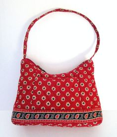 Vera Bradley Americana Red Pattern Small Purse Shoulder Bag Floral Retired