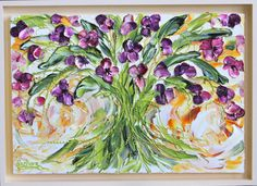 Items similar to Abstract Art ,Love Makes The World Go Round My Signature style bouquets. Item# 56 on Etsy Wood Canvas, Texture Painting, My Arts, Paintings, Palette Knife, Abstract, World, Florals, Artwork