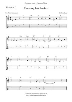 Free Sheet Music Scores: Morning has broken, free ukulele tab sheet music