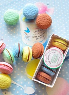 Completely adorable macaron erasers.