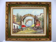Vtg Impressionist Street Scene Oil on Canvas Painting Signed Greenstreet 24x28 #Impressionism