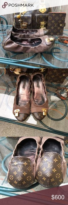 Gorgeous pair of Louis Vuitton flats Beautiful pair of Louis Vuitton flats in great condition. Worn maybe 3 times. Very comfy, unfortunately they are a little tight on me. I'm a 7 1/2 so I would say these would fit a 7 foot. Soft leather and monogram canvas. Thank for LQQKINg. Trade value 750 Louis Vuitton Shoes Flats & Loafers