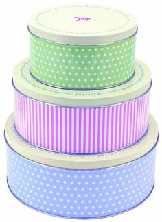Tala Retro Design Round Cake Tins - 3 Pack by George East Housewares - perfect colours!