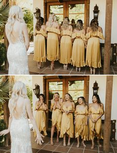 This Desert Meets Tropical Wedding in Palm Springs Brings the Mustard Yellow Hues Bridesmaid Dresses bohemian bridesmaid dresses High Low Bridesmaid Dresses, Yellow Bridesmaid Dresses, Gold Bridesmaids, Burgundy Bridesmaid, Bohemian Bridesmaid Dresses, Burgundy Wedding, Wedding Party Dresses, Modest Wedding Dresses, Dresses Dresses