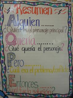 Resumen Anchor Chart: Can use as an outline for Level II writing Dual Language Classroom, Bilingual Classroom, Bilingual Education, Spanish Classroom, Bilingual Kindergarten, Spanish Teacher, Education English, Classroom Ideas, Spanish Anchor Charts