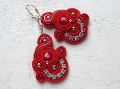 Soutache earrings RED-SILVER Coral Boho Glamour Unique Elegant!