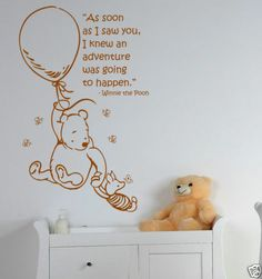 Classic Winnie the Pooh and Piglet Wall Art Sticker Decal Mural With Quote | eBay