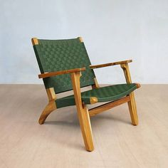 Green Nylon Arm Chair with Teak Wood Frame