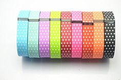 Smart Tech Store Set of 9PCS with White Dots Polka Dots Replacement Band With Clasp for Fitbit FLEX Only /No tracker/ Wireless Activity Bracelet Sport Wrist band Fit Bit Flex Bracelet Sport Arm Band Armband (Large) Smart Tech