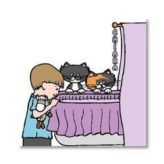 Poppycards geboortekaartje - wiegje met broertje, katten en een knuffel